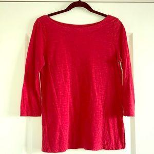 LOFT Coral Red 3/4 Sleeves Top